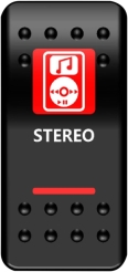 SWITCH ROCKER STEREO-RED